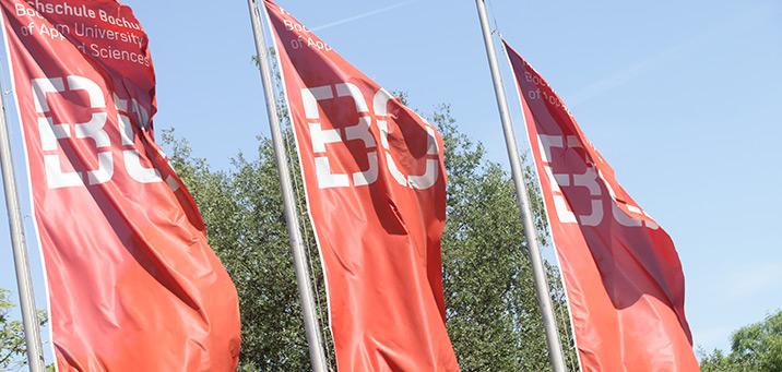Bild der Fahnen der Hochschule von aussen